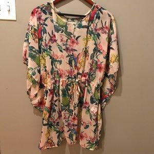 Floral shear cover up dress, H&M, XS